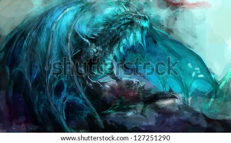 ancient  undead frost dragon illustration - stock photo