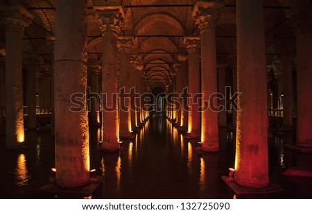 Ancient underground basilica cistern for water storage, Istanbul landmark