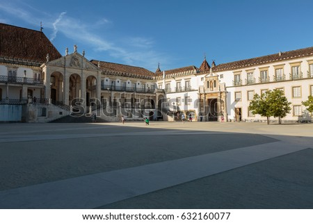Ancient University Square in Coimbra, Portugal