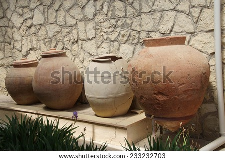 Ancient urns and jars found near  tomb of King Midas of Phrygia,Gordium, Turkey
