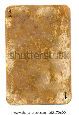 ancient used playing card dirty paper background with number 1 isolated on white