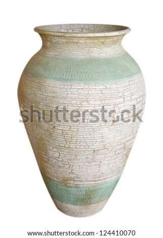 Ancient vase isolated on white background. Clipping path included. - stock photo