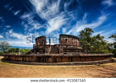 Ancient Vatadage (Buddhist stupa) in Pollonnaruwa, Sri Lanka - stock photo