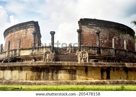 Ancient Vatadage (Buddhist stupa) in Polonnaruwa, Sri Lanka - stock photo