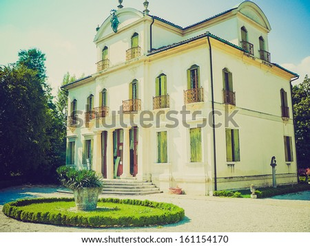 Ancient villa Widman and garden in Padua (Padova) in Veneto, Northern Italy vintage look