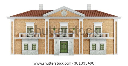 Ancient villa with old brick walls isolated on white - 3D Rendering - stock photo
