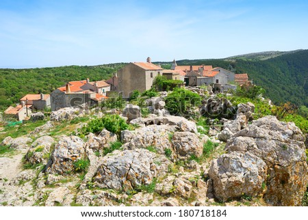 Ancient village of Lubenice on the island of Cres in Croatia - stock photo