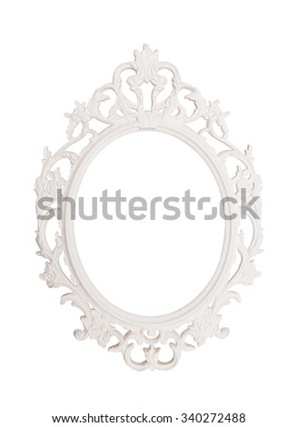Ancient vintage natural round picture frame with leaves design white ornament texture isolated background for scrapbook album. antique item - stock photo