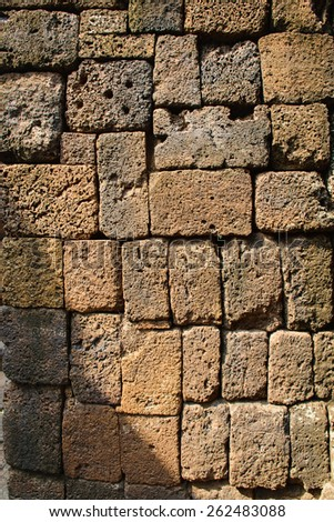Ancient wall in Archaeological site in Thailand