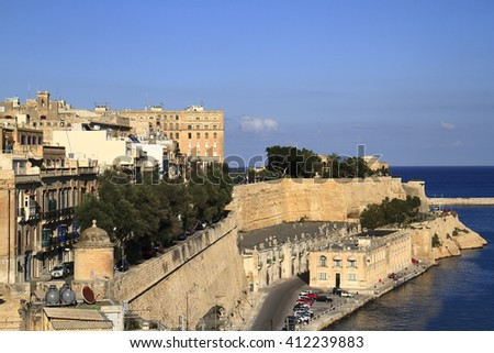 Ancient walls and streets of Valetta, Capital of Malta