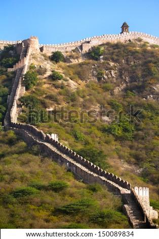 Ancient walls near Amber Fort. Jaipur, Rajasthan, India - stock photo