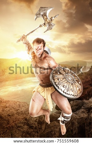 Ancient warrior or Gladiator fighting in a dark environment