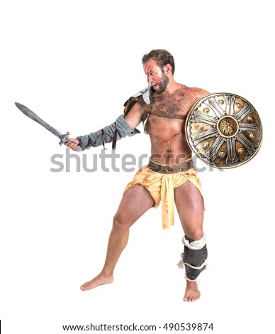 Ancient warrior or Gladiator isolated in a white background