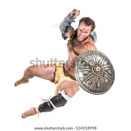 Ancient warrior or Gladiator jumping isolated in a white background