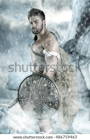 Ancient warrior or Gladiator ready to fight in the snow