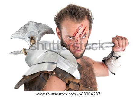 Ancient warrior or Gladiators isolated in a white background