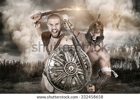 Ancient warriors in a battle in the forrest - stock photo