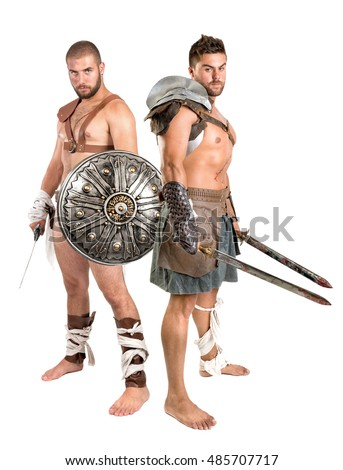 Ancient warriors or Gladiators isolated in a white background