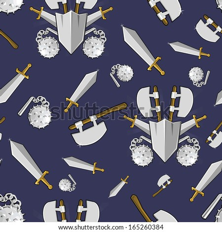 Ancient weapon cartoon background. Colorful seamless pattern. - stock photo