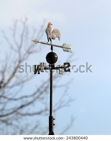 ancient weather vane wind marks with gall and the four cardinal points - stock photo