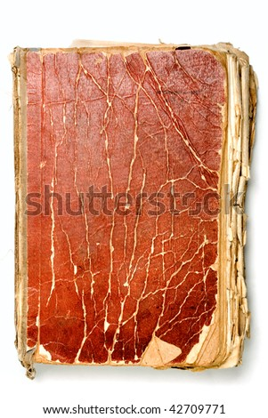 Ancient weathered paper book isolated on white