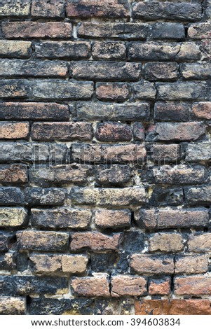 ancient weathers brick wall from Venice,Italy - stock photo