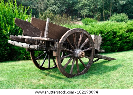 Ancient wooden cart in a park