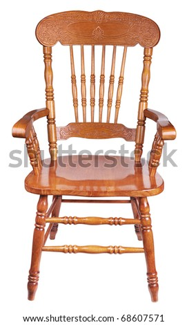 Ancient wooden chair, it is isolated on a white background - stock photo