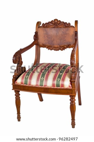 Ancient wooden chair with soft sitting on a white background