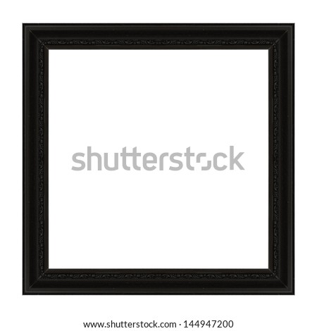 Ancient wooden frame isolated on white background. - stock photo
