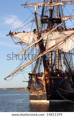 Ancient wooden ship in Tallinn port - stock photo