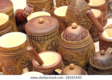 Ancient wooden tableware. To see similar images, please VISIT MY GALLERY. - stock photo