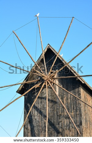 Ancient wooden windmill, old town Nessebar, Bulgaria
