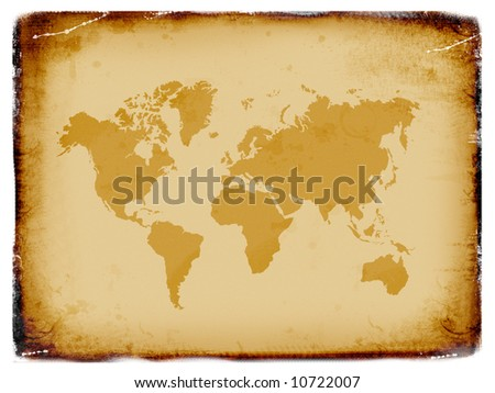 Ancient world map, old paper - stock photo