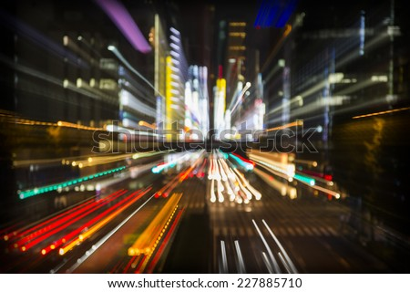and abstract neon light image made from tokyocity scene at night