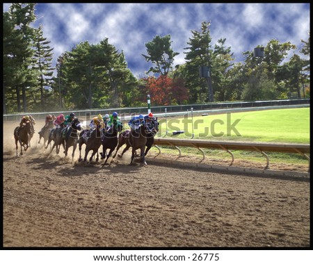 And down the stretch they come - stock photo