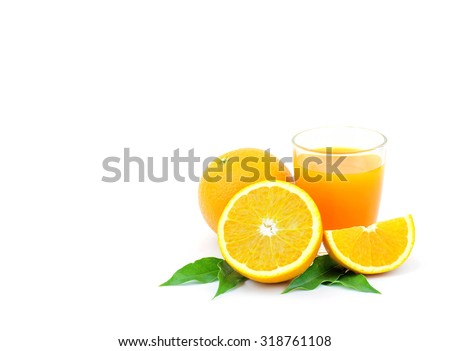 And fresh squeezed orange juice on the white family . - stock photo