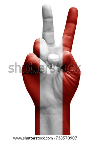 and making victory sign, Austria painted with flag as symbol of victory, win, success - isolated on white background