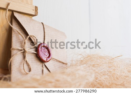 and sending a love letter on  white background - stock photo