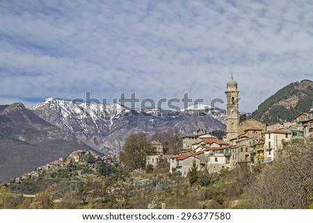 Andagna - typical Ligurian village in Argentina Valley - stock photo