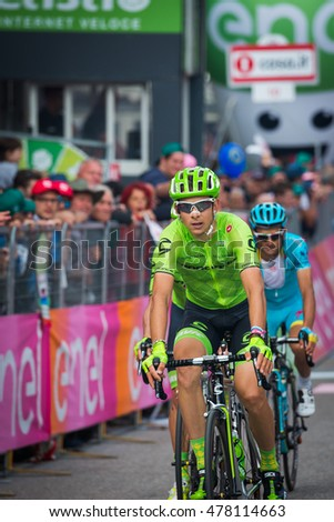 Andalo, Italy May 24, 2016; Davide Formolo, professional cyclist, passes the finish line of the stage from Brixen to Andalo of the Tour of Italy 2016