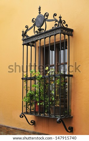 Andalusia typical lattice in window barred - stock photo