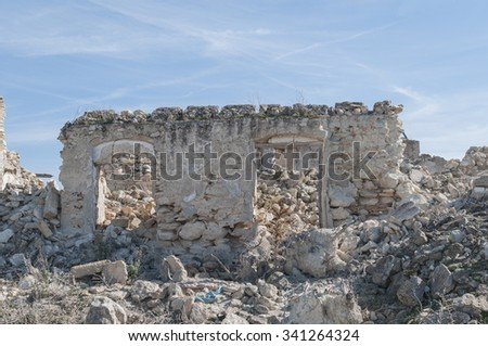 Andalusian farmhouse in ruins in the province of Seville Spain