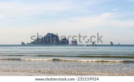 Andaman sea against blue sky at railay bay Krabi bay Thailand rainbow. - stock photo