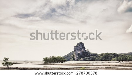 andaman sea at low tide, Asia, Thailand - stock photo