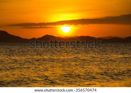 Andaman sea on sunset, Krabi province, Thailand - stock photo