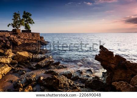 Andaman sea. Sunset on coast of Krabi, Thailand - stock photo