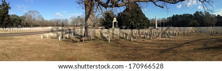 Andersonville Cemetery at Andersonville National Historic Site in Georgia - stock photo
