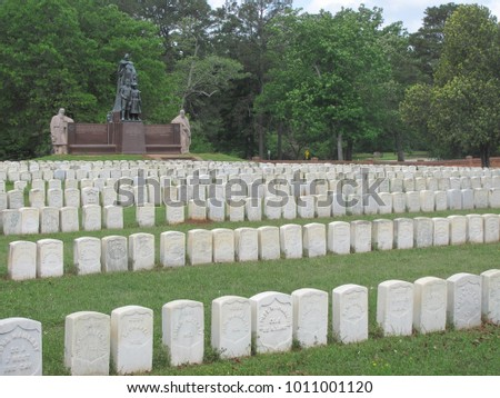 Andersonville, GA / USA - April 19, 2016: Andersonville National Cemetery is the final resting place for many of the Union soldiers who died at Andersonville prison camp during the Civil War.