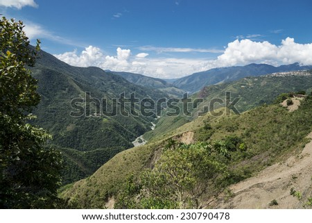 Andes landscape in the environment of La Paz, Bolivia - stock photo